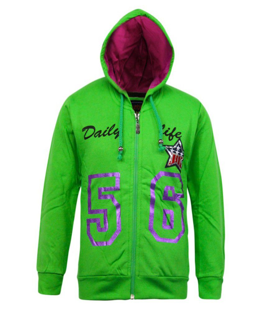 Kothari Green Fleece Sweatshirt With Hood