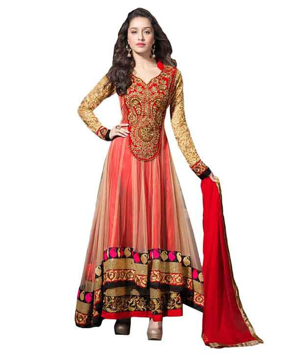 634189f42 ... Straight Semi-Stitched Suit - Buy The Style Status Red and Beige  Georgette Straight Semi-Stitched Suit Online at Best Prices in India on  Snapdeal