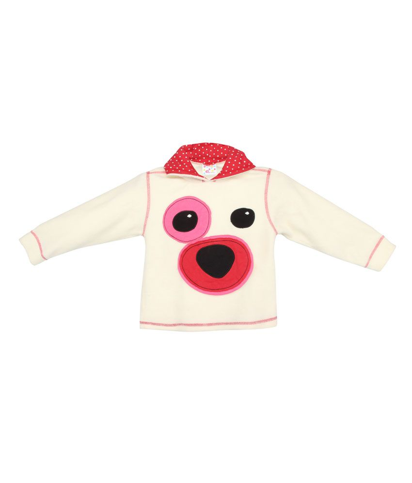 Eimoie White Full Sleeve Fleece Jacket For Girls