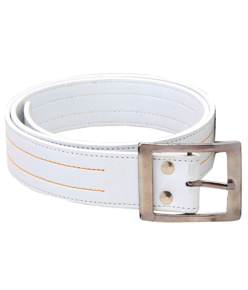 Elligator White Leather Belt