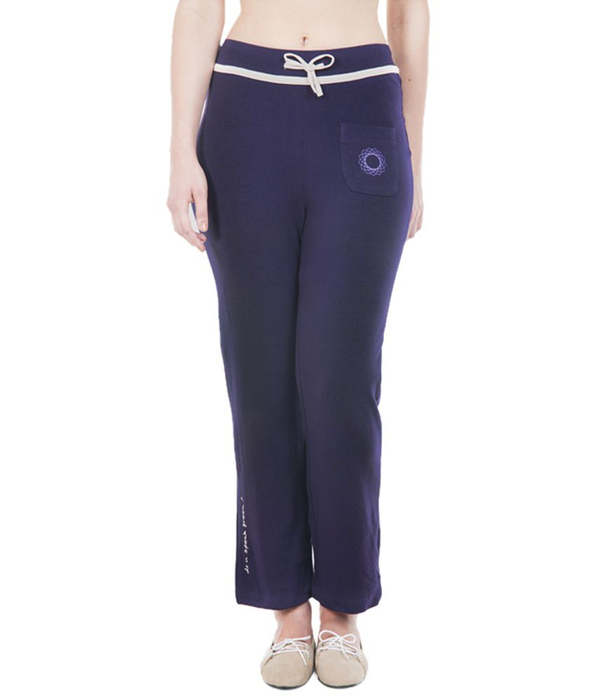 Douspeakgreen Purple Om Organic Yoga Pants