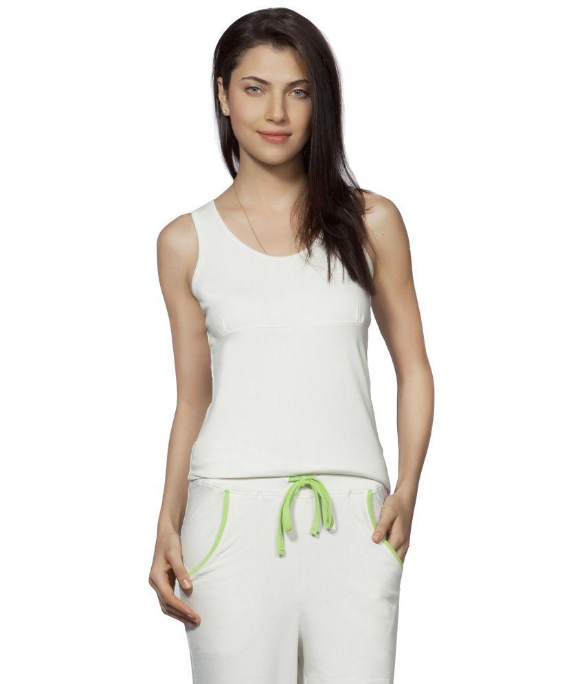 Douspeakgreen White Stillness Organic Yoga Top