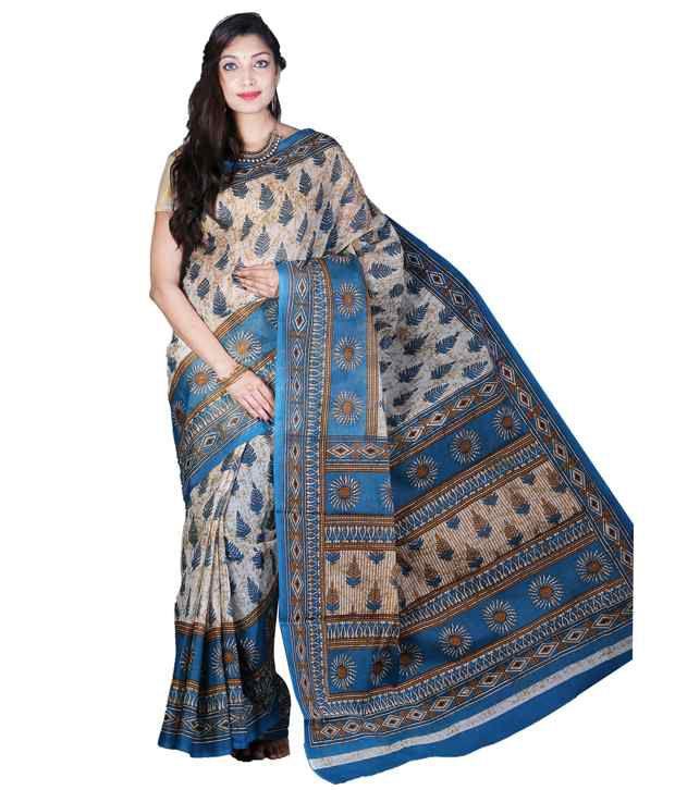 Glamorous Lady Beige and Blue Printed Khadi Mangalgiri Polycotton Saree with Blouse Piece