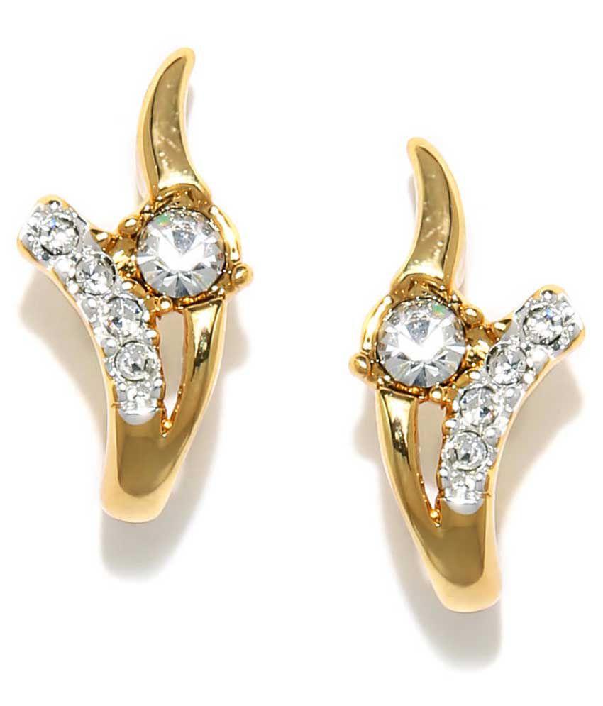 Golden Peacock Golden Alloy Stud Earrings