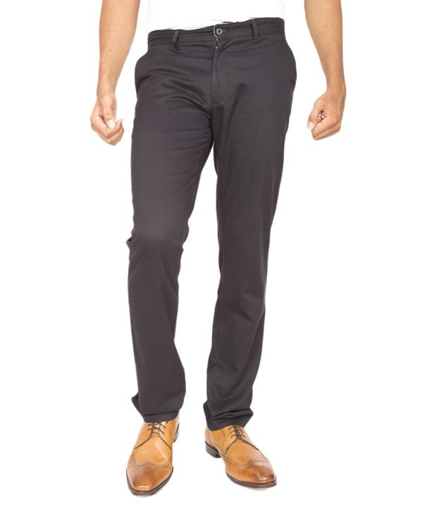 Masterly Weft Grey Cotton Blend Slim Fit Chinos