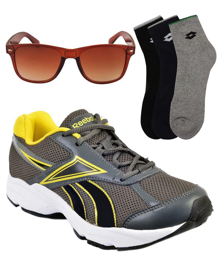 Reebok Gray Sport Shoes With Wayfarer Sunglass