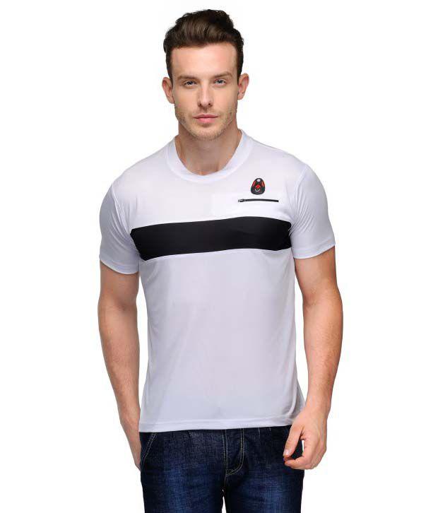 Scott Crackle Sulphur Dryfit White Polyester Henley Neck Men T Shirt
