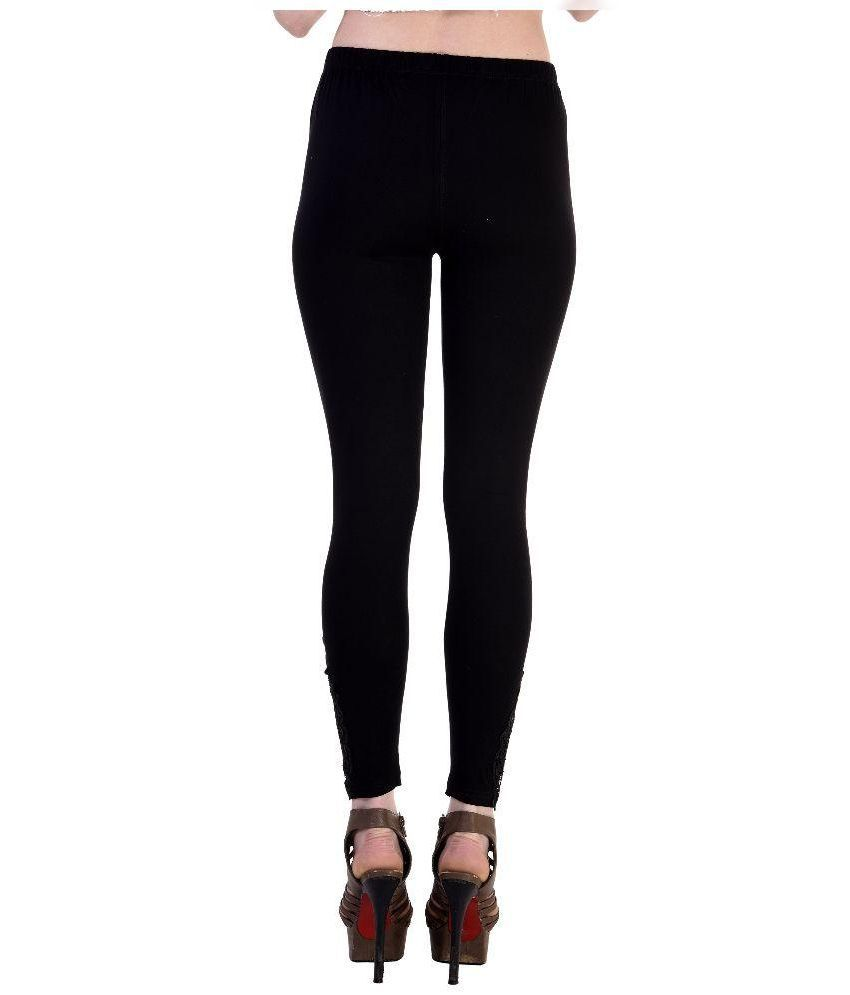 Buy Visach Black Cotton Leggings Online at Best Prices in India ...