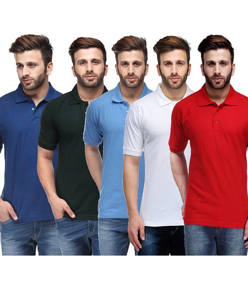 Ausy Multicolor Cotton Blend T-Shirt -Set of 5