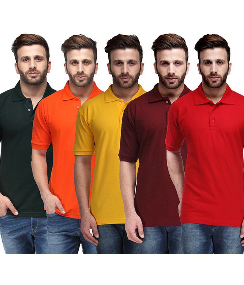 Ausy Multicolor Cotton Blend T-Shirt -Set of 5