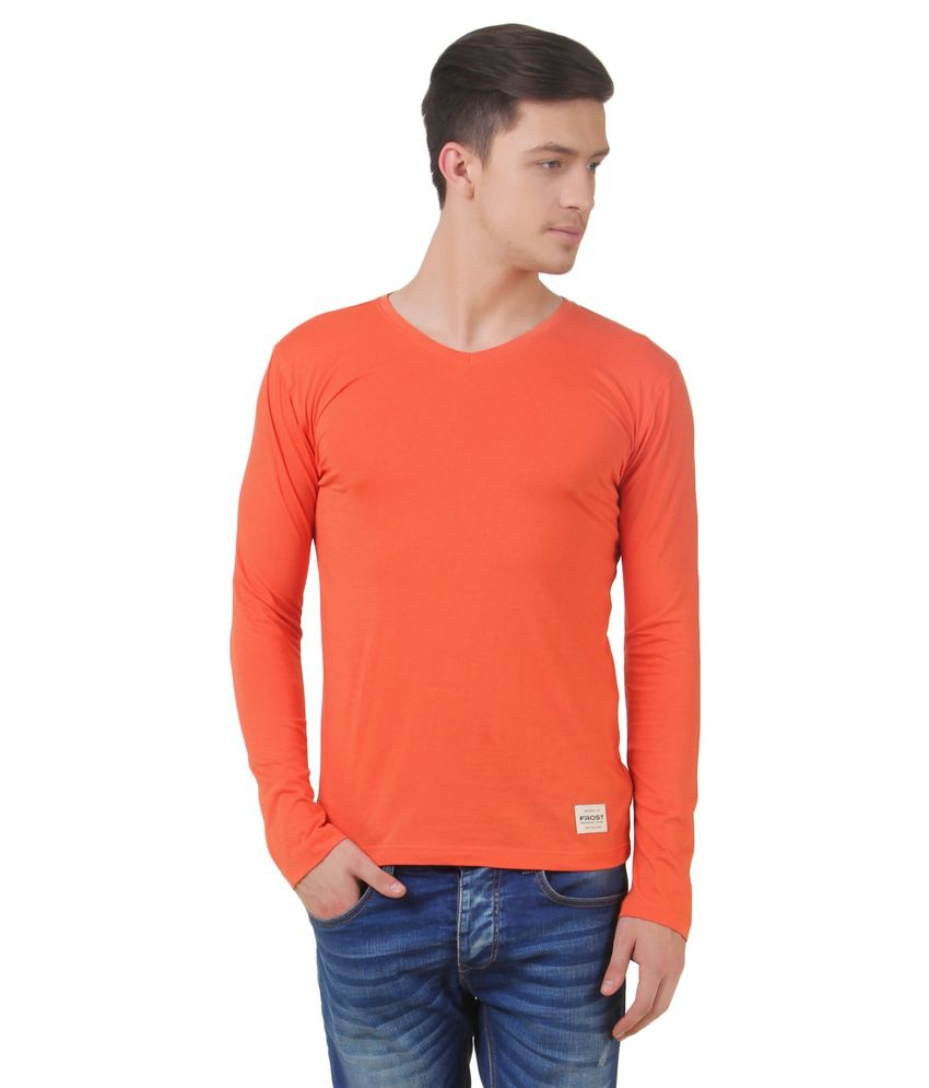 Frost Orange Cotton Blended T-shirt