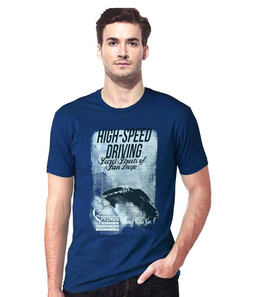 Gallop Royal Blue Printed T Shirt