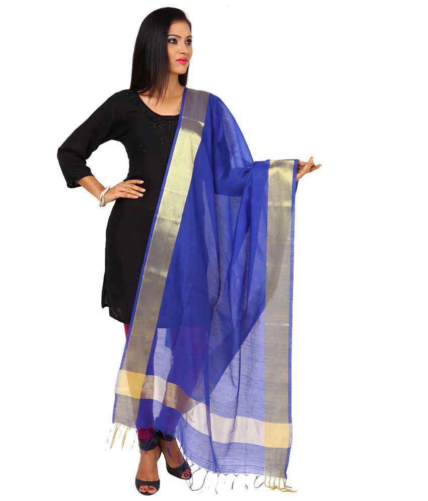 Kataan Bazaar Blue & Golden Plain Art Silk Dupatta