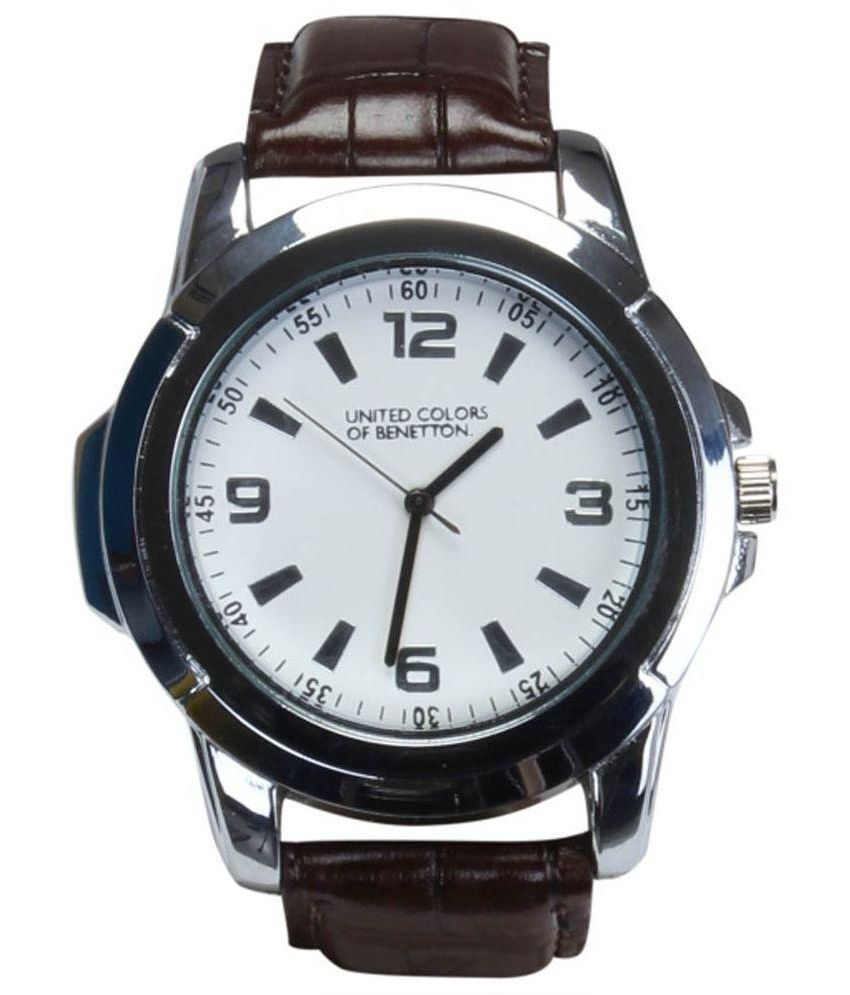 United color of benetton maroon leather analog formal watch buy united color of benetton for Benetton watches