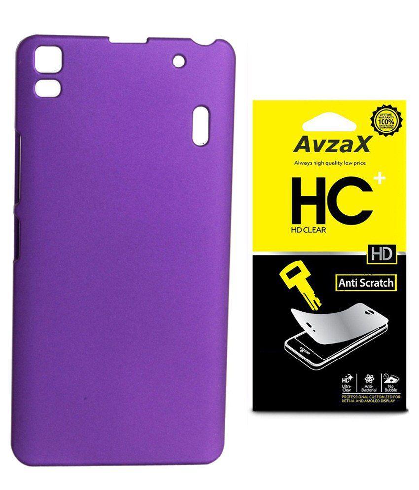 Avzax Back Cover For Lenovo A6000-purple With Screen Guard