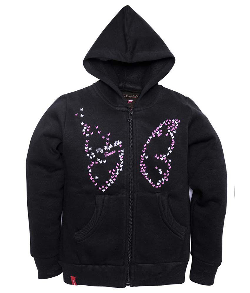 Femea Black Full Sleeve Fleece Sweatshirt