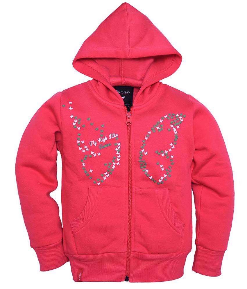 Femea Pink Full Sleeve Fleece Sweatshirt