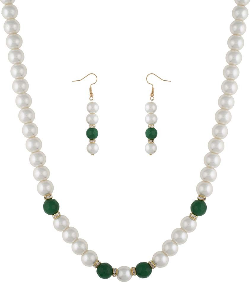 Jewel Planet Alloy Multicolor Pearl Necklace Set