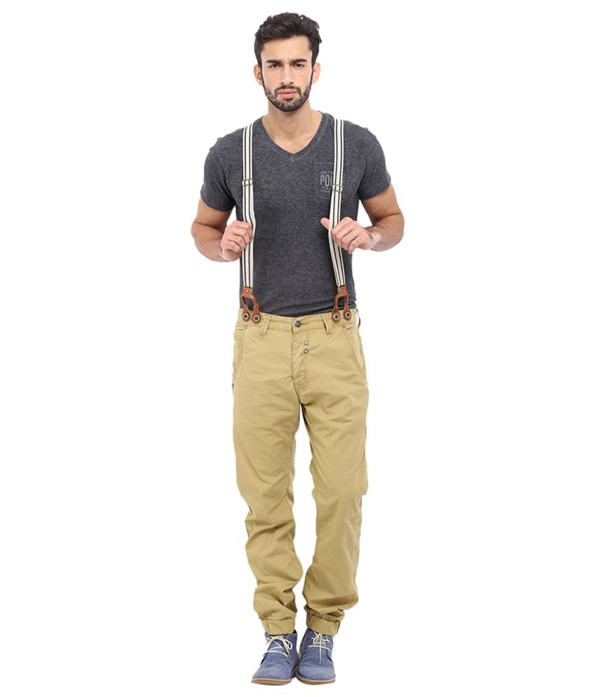 883 Police Beige Cotton Blend Slim Fit Chions