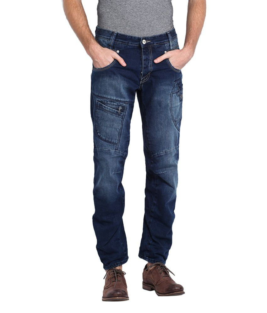 883 Police Blue Cotton Slim Fit Faded Jeans