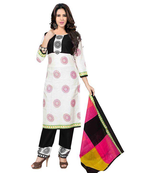 AVS Multi Color Cotton Unstitched Dress Material