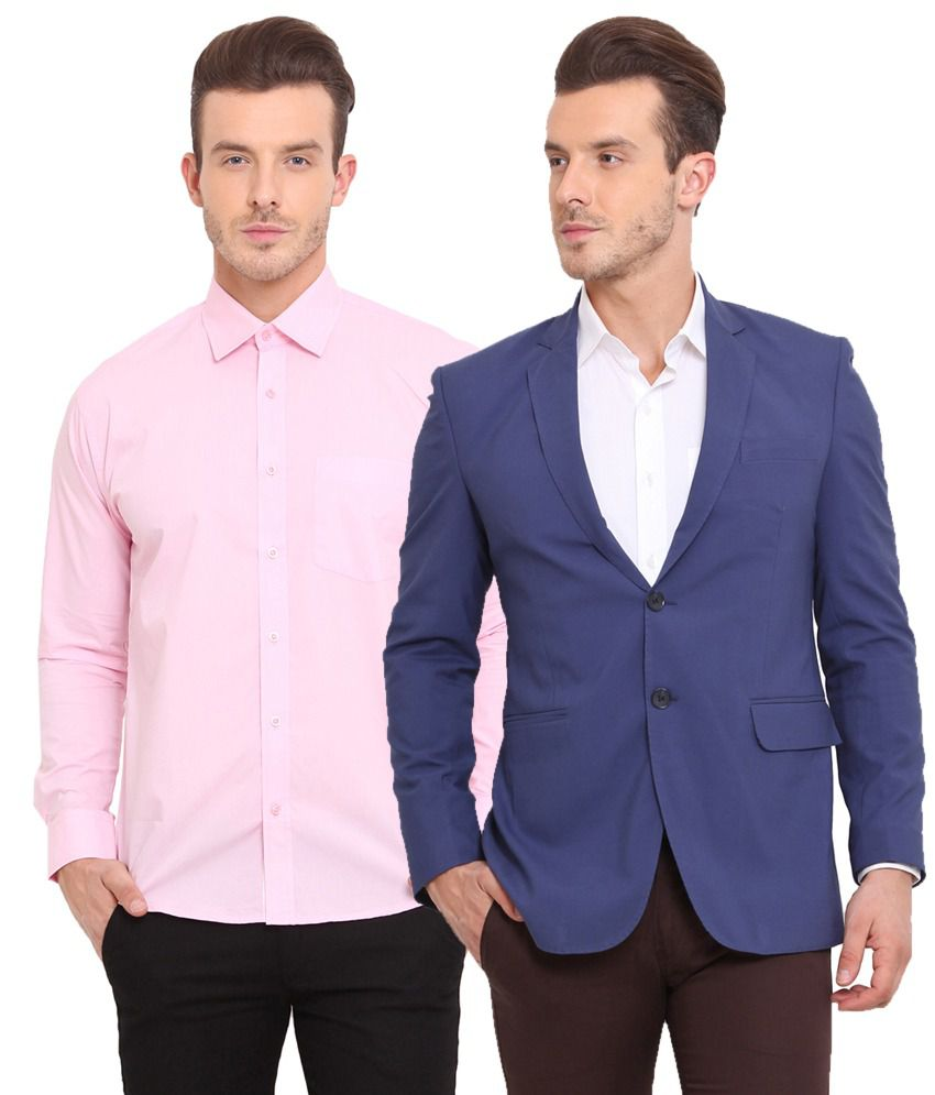 Ennoble Blue & Pink Poly Viscose Blazer & Shirt Combo (Pack Of 2)