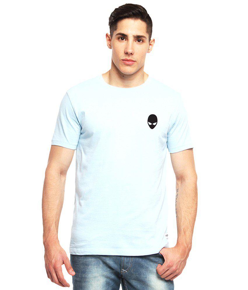 Adro Light Blue Alien Mask Printed Cotton T Shirt