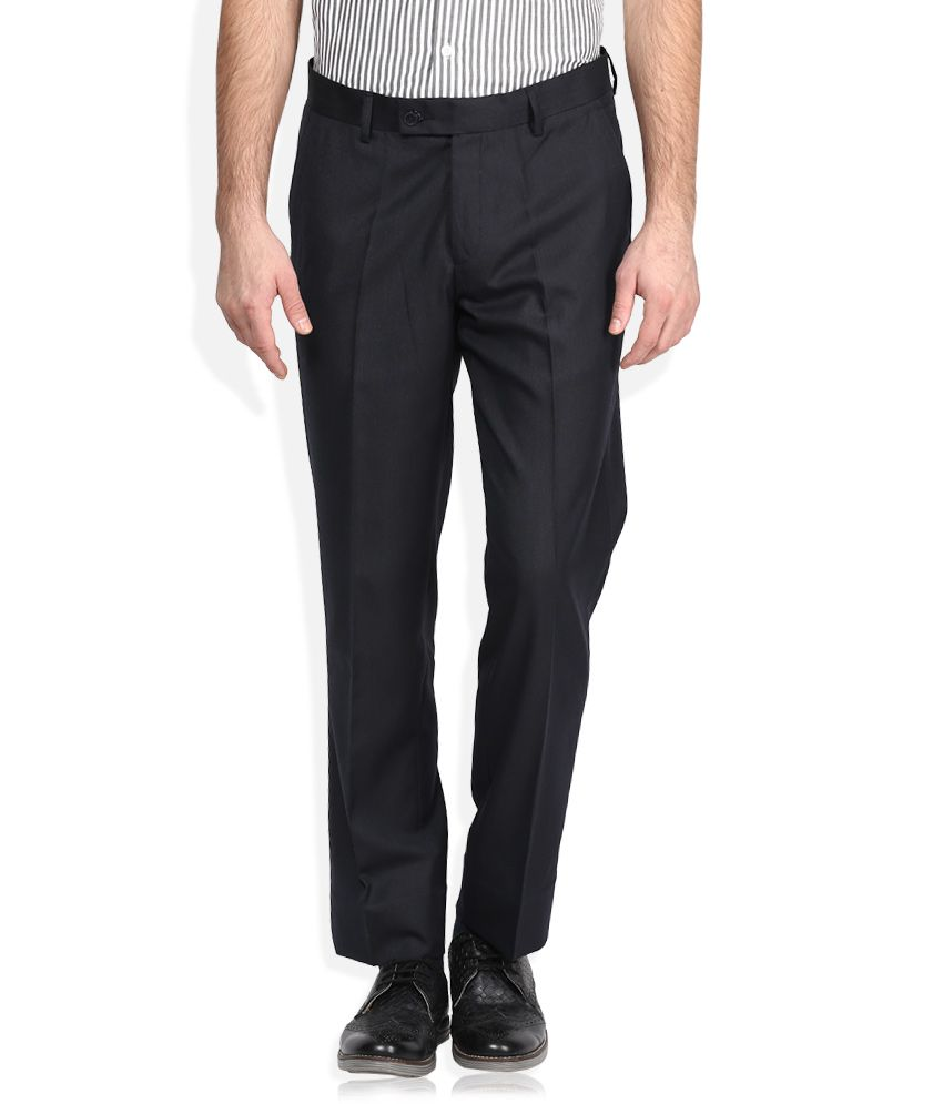 Auburn Hill Black Solid Flat Front Trousers