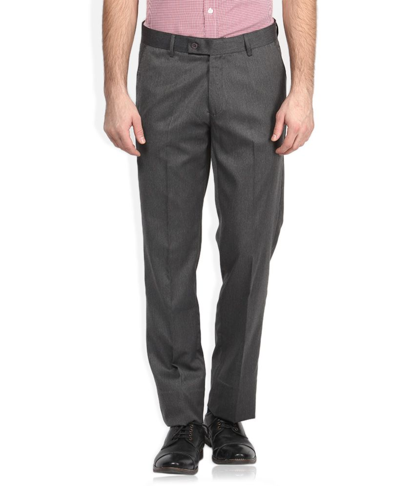 Auburn Hill Grey Solid Flat Front Trousers