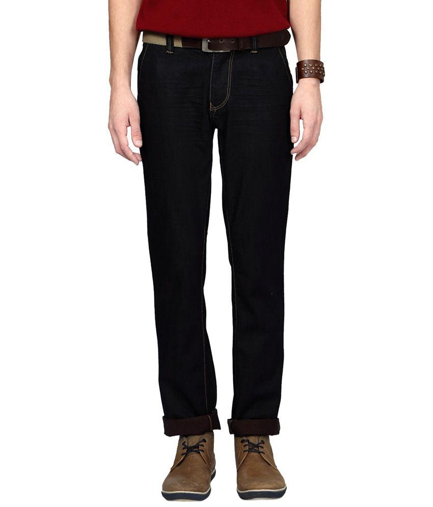 People Black Cotton Blend Slim Fit Jeans