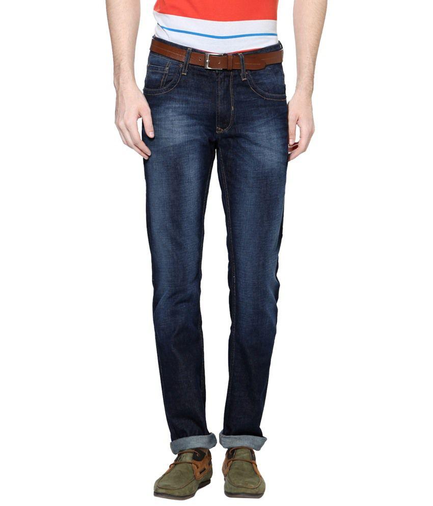 People Navy Blue Cotton Blend Slim Fit Jeans