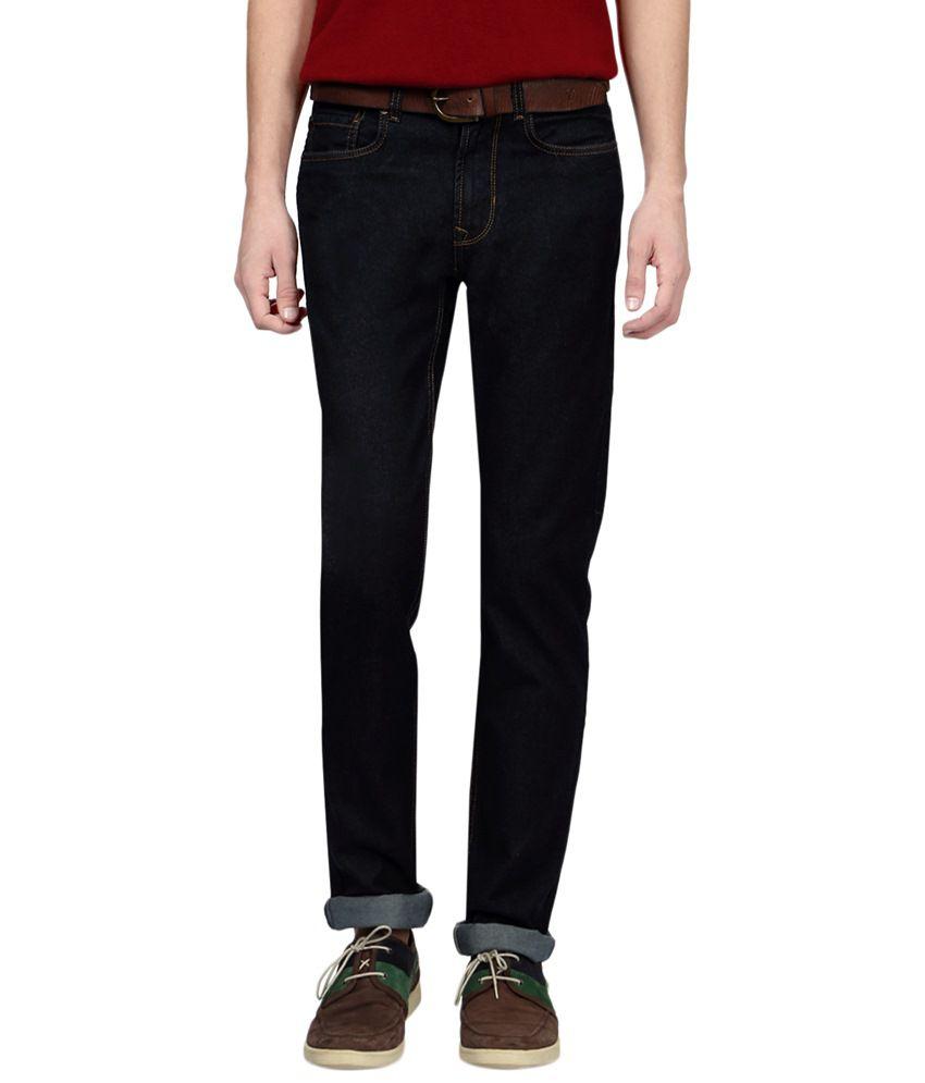 Peter England Black Cotton Blend Slim Fit Jeans