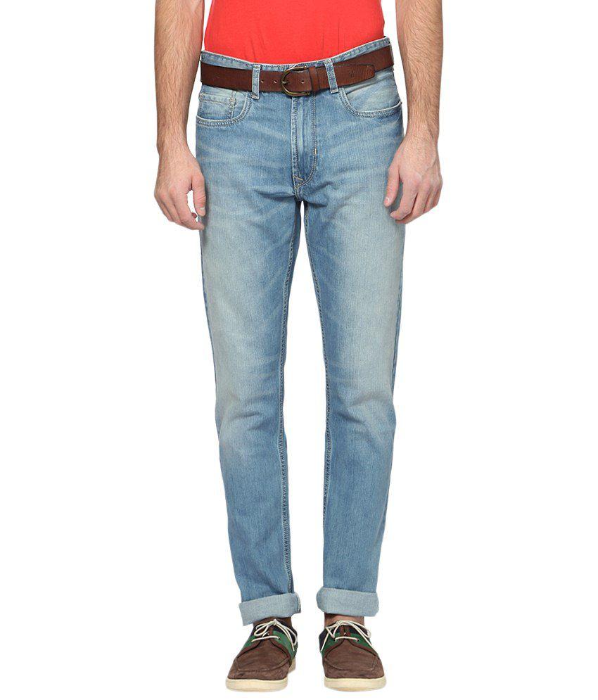 Peter England Light Blue Cotton Blend Regular Fit Jeans