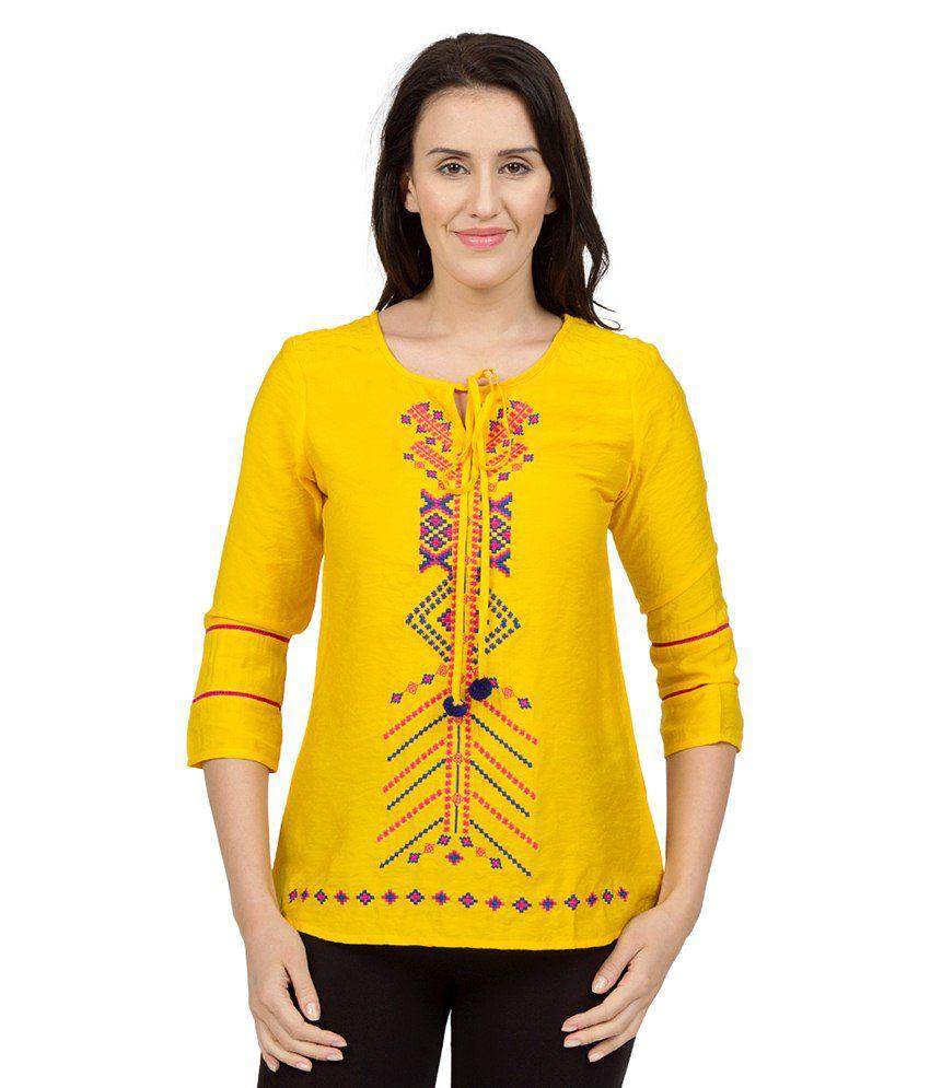 Desi Belle Yellow Cotton Tunics