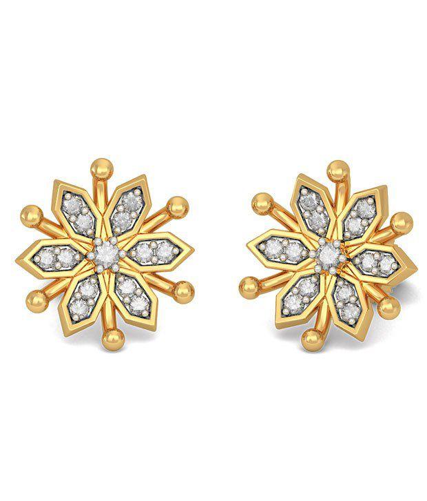 BlueStone 14K Yellow Gold Diamond Ivy Earrings