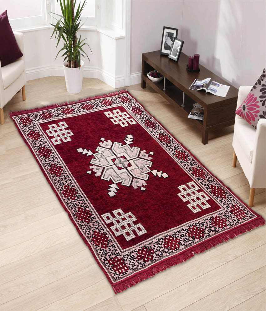 Gurukripa Red Cotton Schenelle Carpet