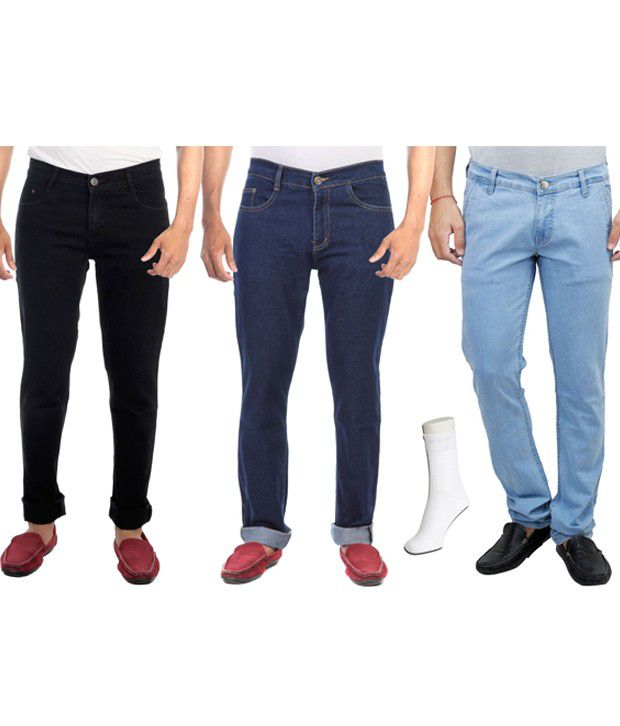 Haltung  Multicolor Cotton Basic Denim Jenas - Combo Of 3