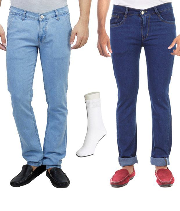 Haltung  Multicolour Cotton Blend Regular Fit Combo Of 2 Denim Jeans With Free Assorted Pair Of Socks