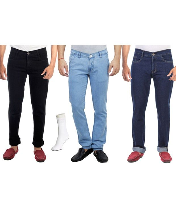 Haltung  Multicolour Cotton Blend Regular Fit Combo Of 3 Denim Jeans With Free Assorted Pair Of Socks