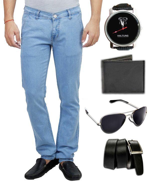 Hultung Mens Denim Regular Fit Jeans With Free Wallet-watch-sunglass-belt