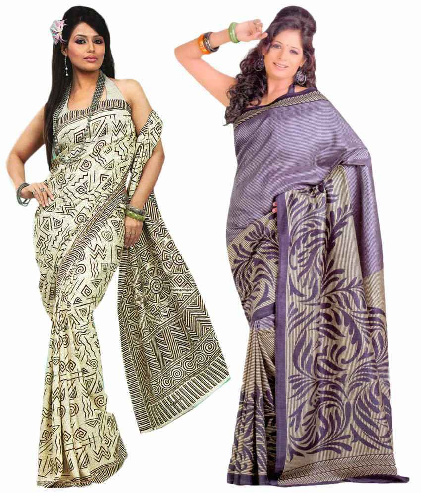 Miraan Pack of 2 Beige & Purple Bhagalpuri Art Silk Sarees with Blouse Pieces