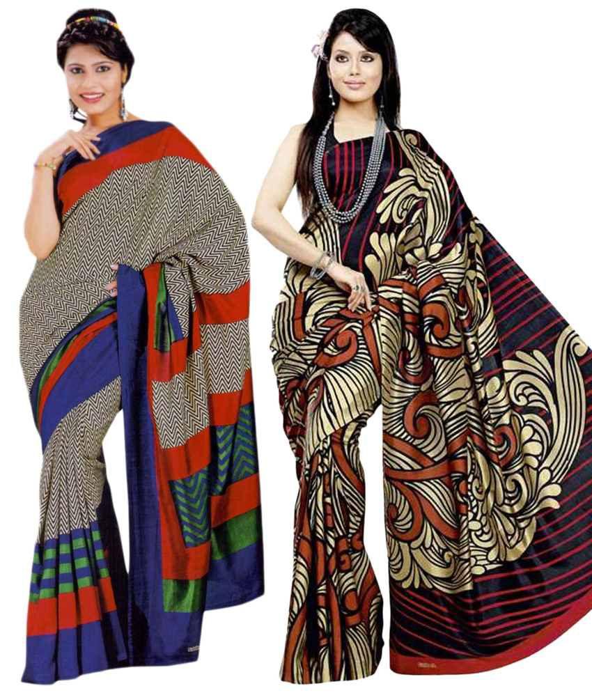 Miraan Pack of 2 Golden & Blue Bhagalpuri Art Silk Sarees with Blouse Pieces