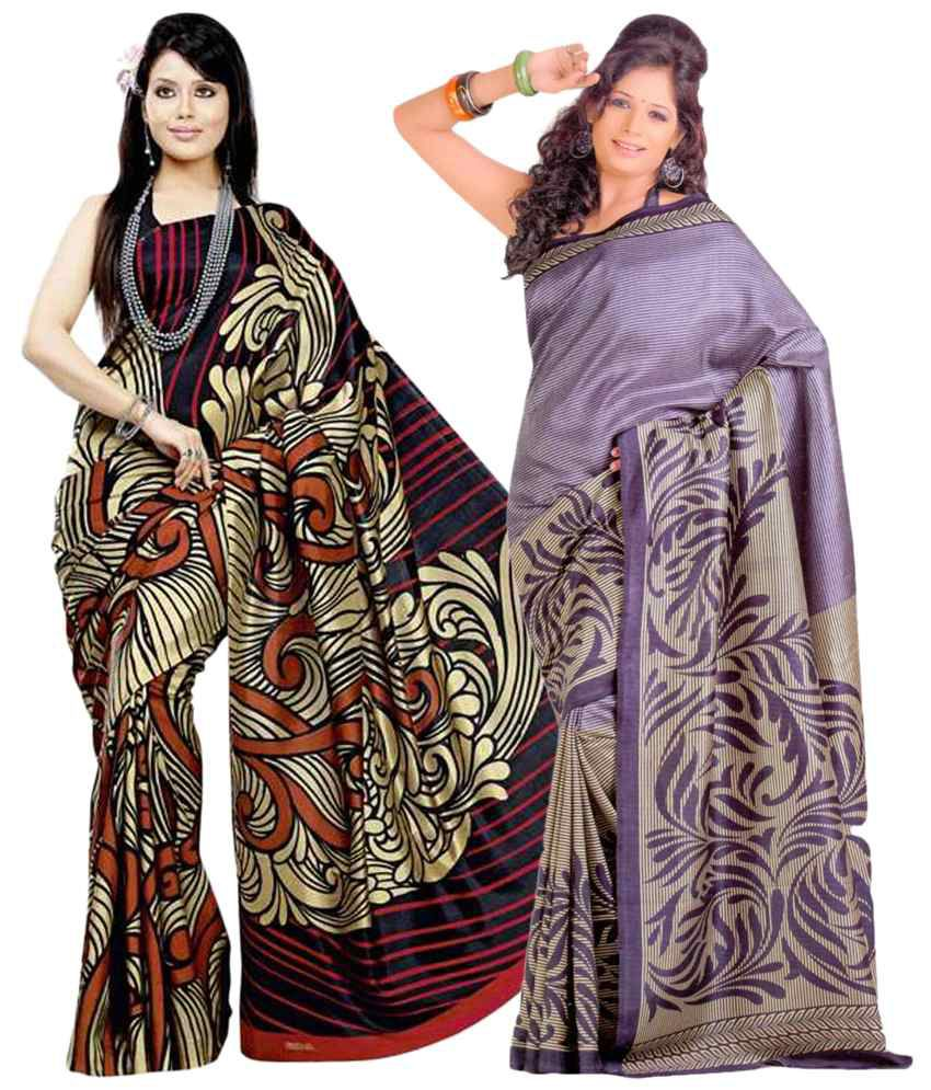 Miraan Pack of 2 Golden & Purple Bhagalpuri Art Silk Sarees with Blouse Pieces