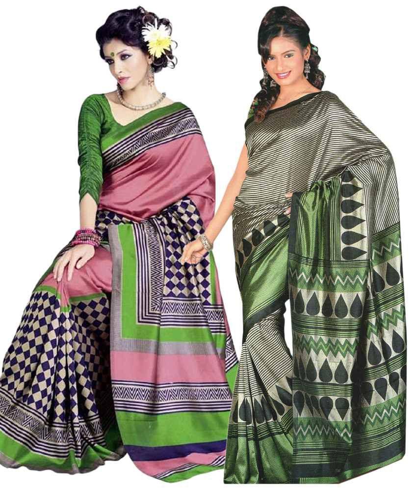 Miraan Pack of 2 Pink & Green Bhagalpuri Art Silk Sarees with Blouse Pieces