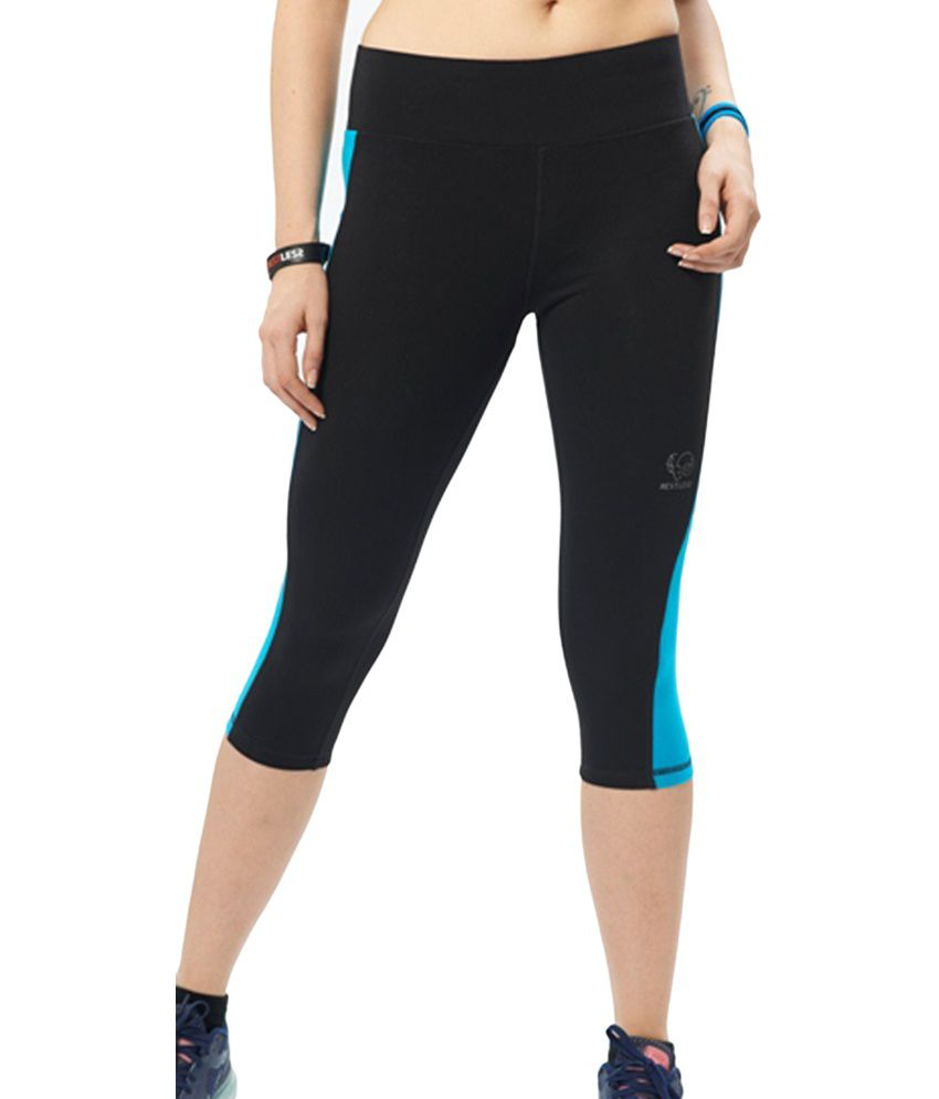 Restless Black & Blue Stretchable Sports Capris