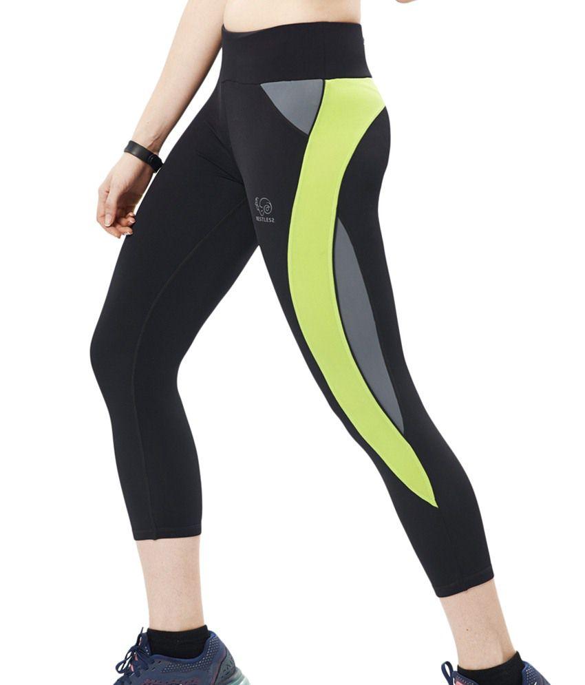 Restless Black & Green Stretchable Sports Calf Length Leggings