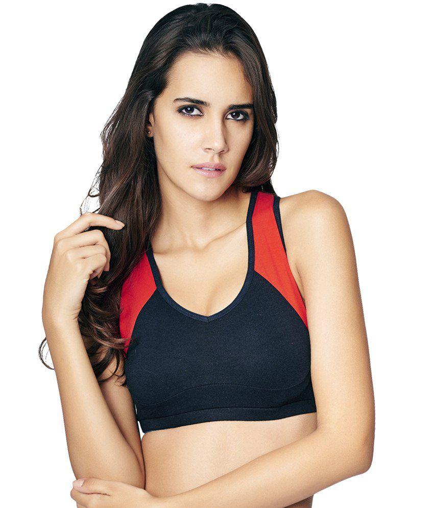Restless Black & Red Stretchable Sports Bra