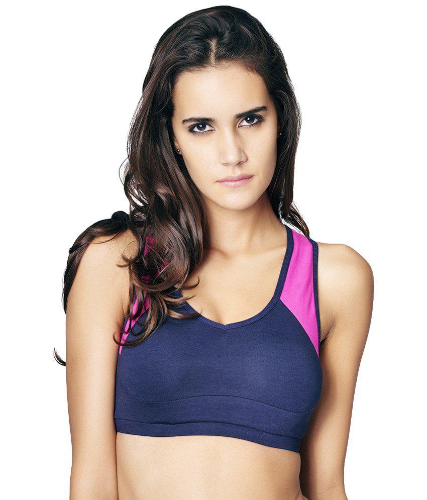 Restless Blue & Pink Stretchable Sports Bra