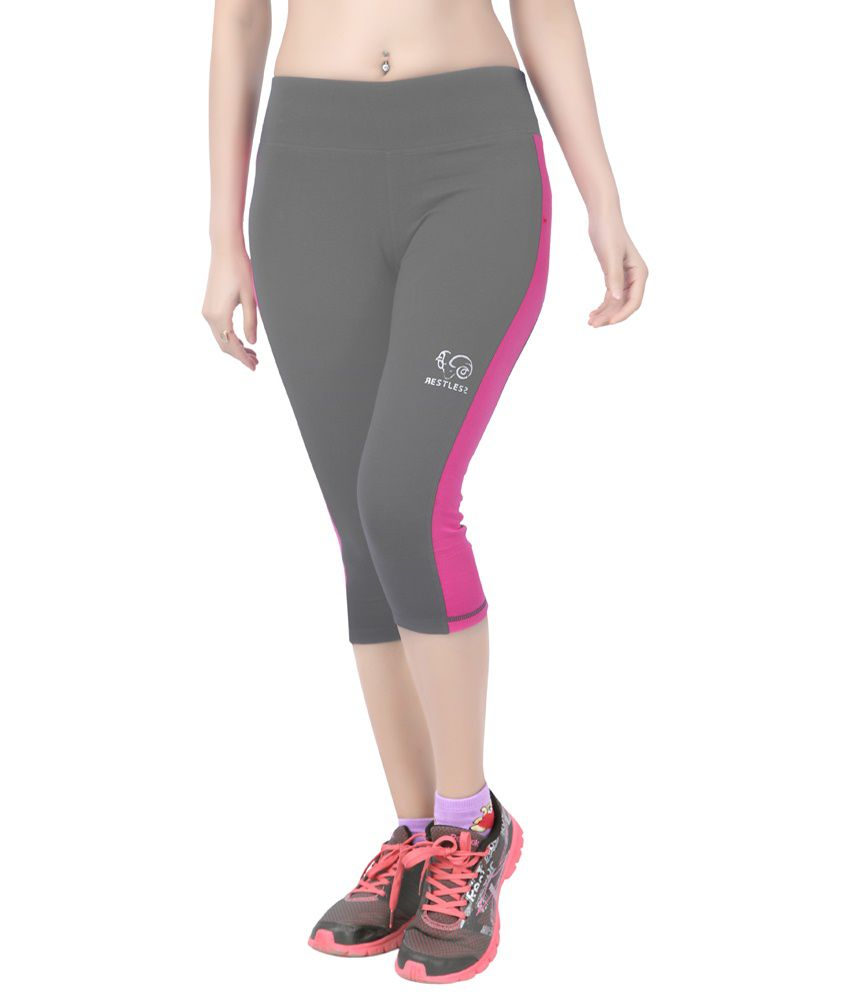 Restless Gray & Pink Stretchable Sports Capris