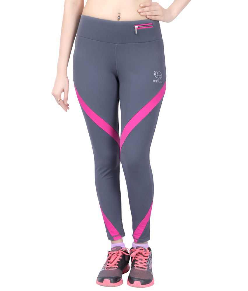 Restless Gray & Pink Stretchable Sports Calf Length Leggings